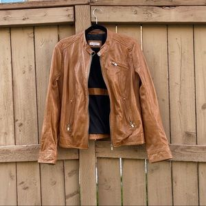 Lamarque Cordelia Chestnut Leather Moto Jacket